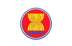 ASEAN(アセアン)の旗と日本のつ...